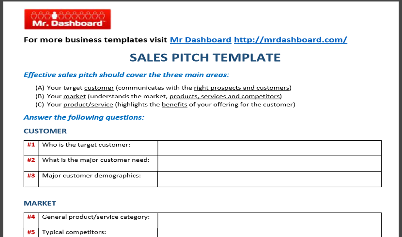 product pitch template