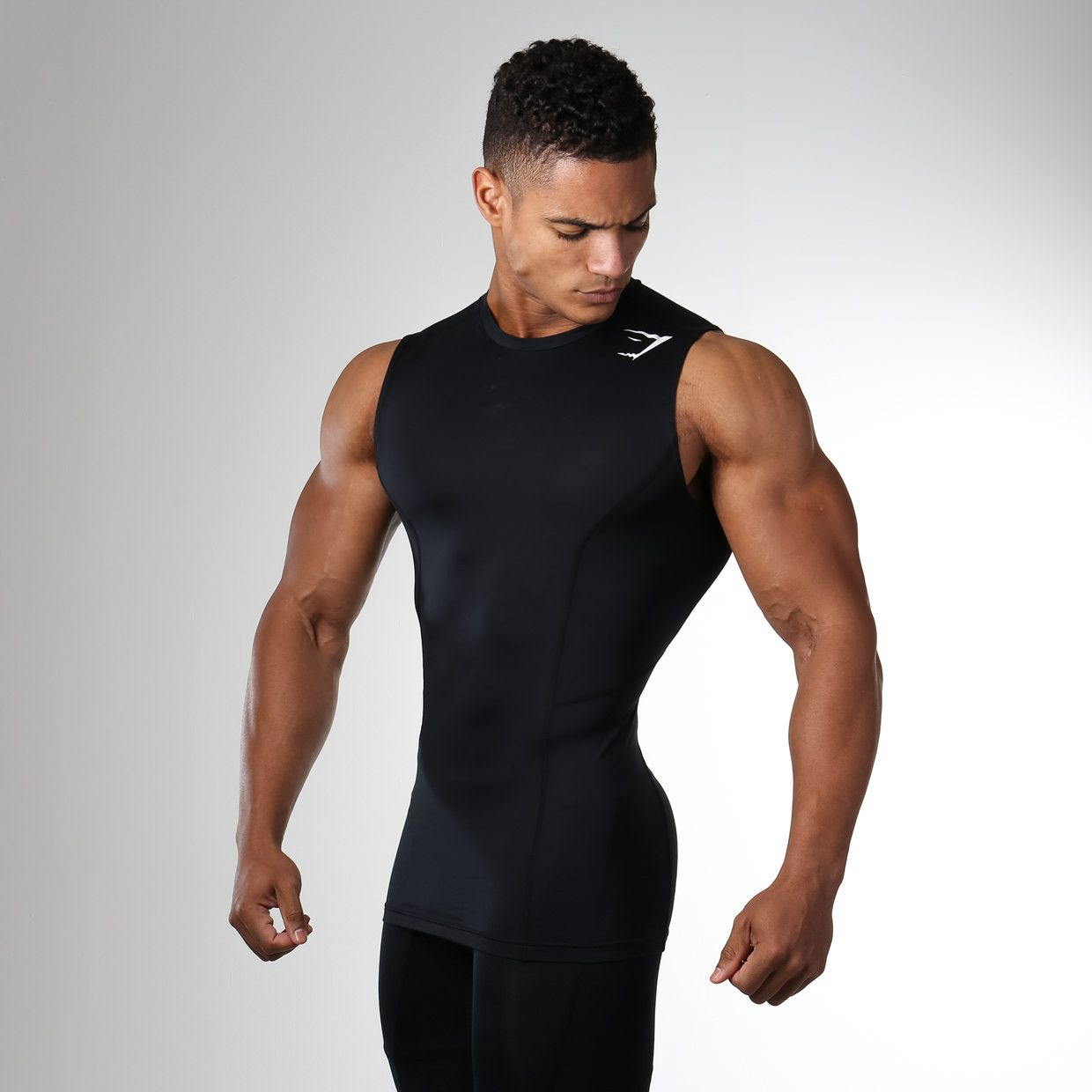 MENS BLACK COMPRESSION TANK TOP T SHIRT GYM RUNNING SPORTS TRAINING WEIGHTS TEE