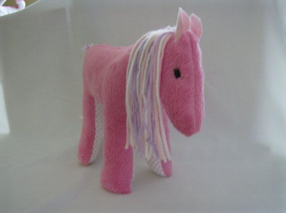 Handmade Pink Pony Horse Plush Stuffed Animal by greenlioness, $18.00