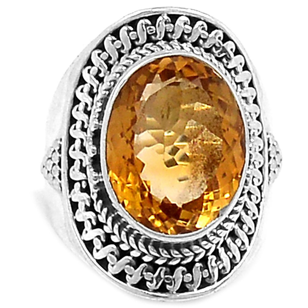 Citrine 925 Sterling Silver Ring Jewelry s.6 CITR1034 - JJDesignerJewelry