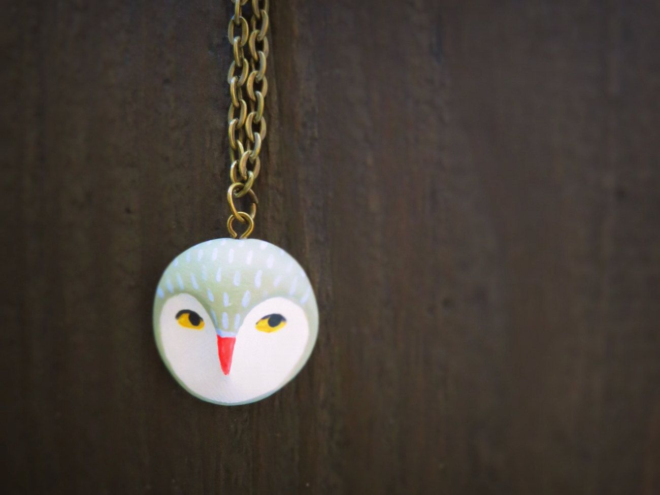 Owl head Necklace. $30.00, via Etsy.