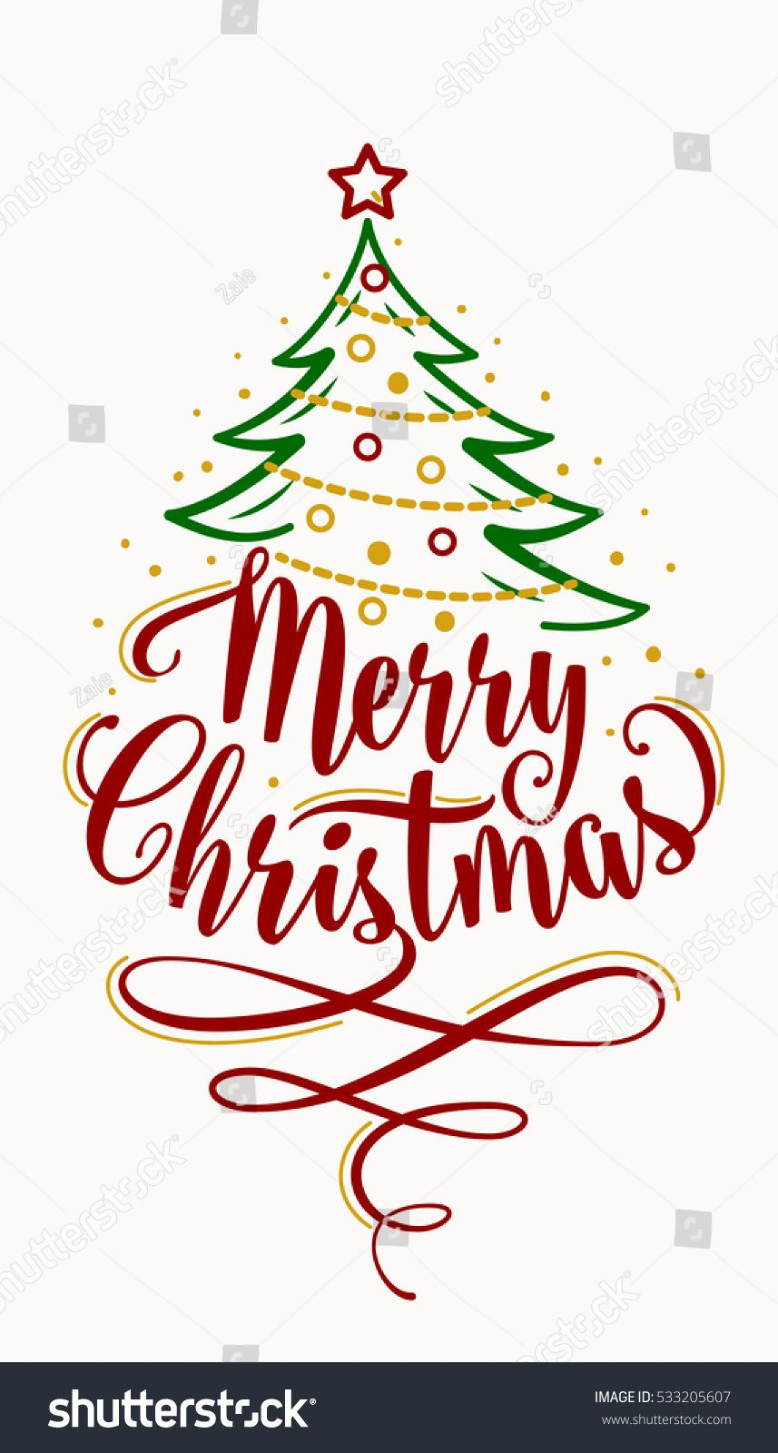 Vector Illustration Merry Christmas Lettering Text Stock Vector (Royalty Free) 533205607
