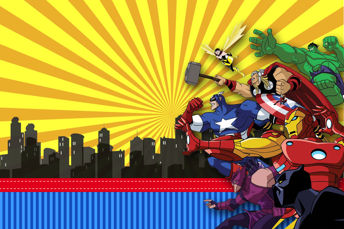 Kit Festa Os Vingadores Invitaciones Superheroes Cumpleanos De