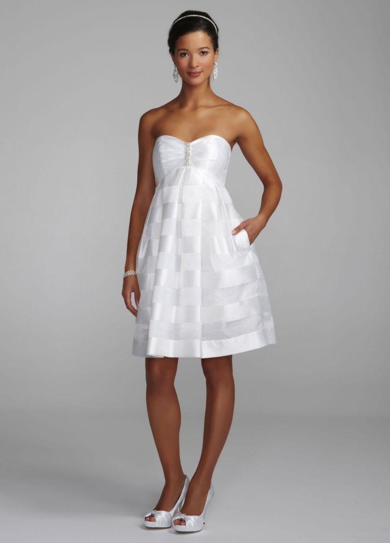 Organza Baby Doll Dress with Rhinestone Detail - David\'s Bridal ...