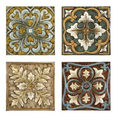 Casa Medallion Tiles Set of 4 Loseta, Mosaicos y Textiles