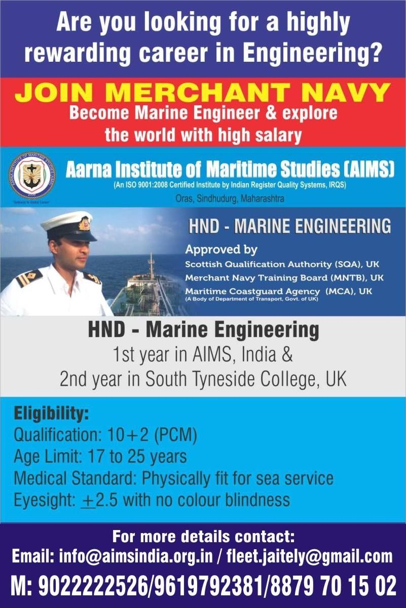 Join Aarna Institute of Maritime Studies - Aims ADMISSIONS