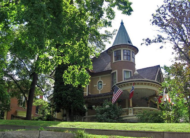 Victorian House With Round Tower And Veranda Decorah Iowa Victorian Homes Victorian Style Homes Old Victorian Homes