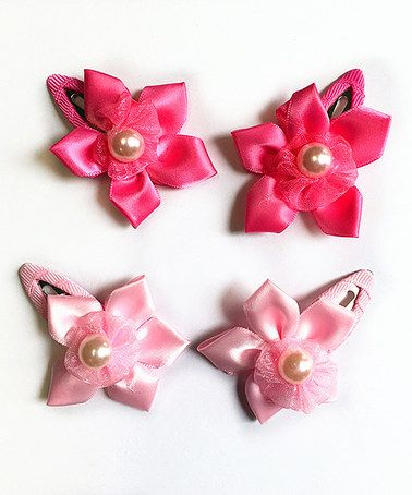 Love this Hot Pink & Pink Pearl Flower Barrette Clip Set on #zulily! #zulilyfinds