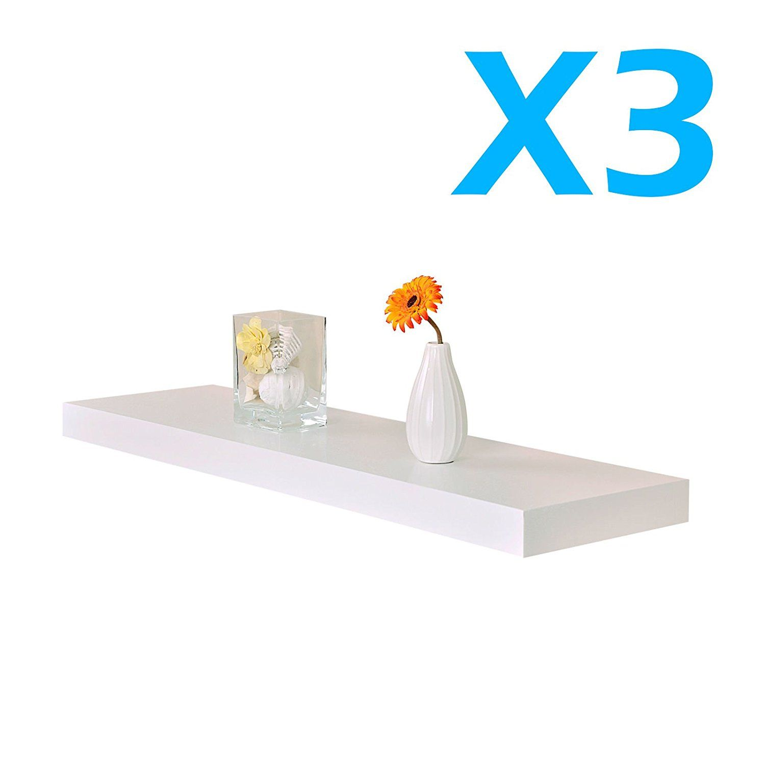 Lot Of 3 X New White 24 Venice Floating Wall Shelf 24 X9 X 1 5 Set Kit You Can Get More Details Here Float Floating Wall Shelves Wall Shelves Shelves