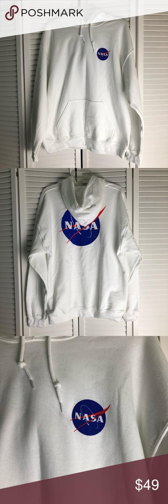 New Nasa Oversized White Hoodie Sweatshirt L White Sweatshirt Hoodie Oversized White Hoodie Nasa Clothes [ 1740 x 580 Pixel ]