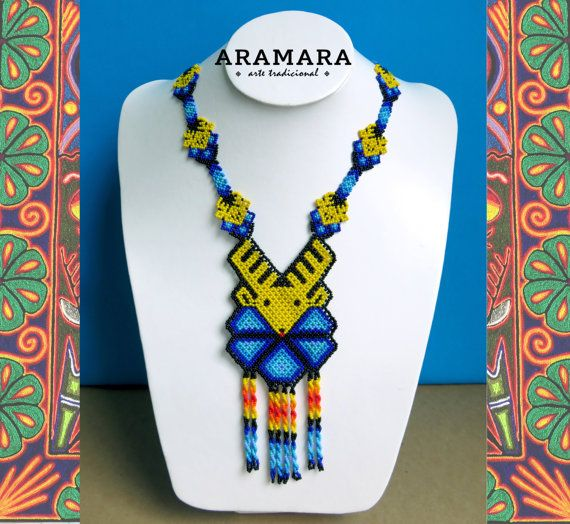Mexican Huichol Beaded Deer and Peyote Necklace  by Aramara