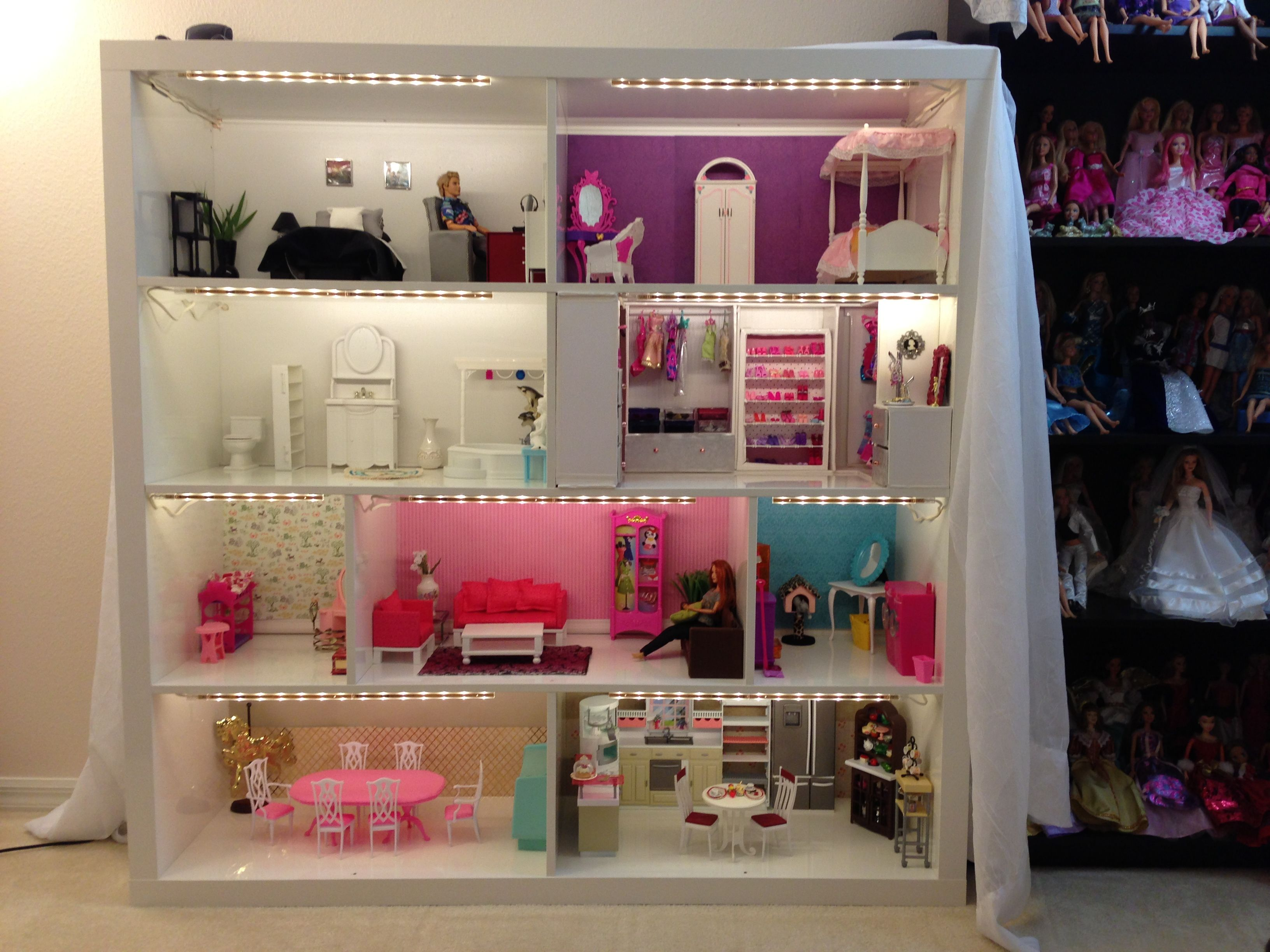 Barbie house from Expedit shelves, now with lighting! Also