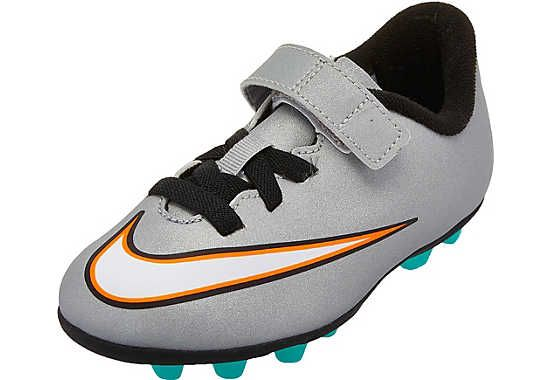 e9fdb37b7e88 Nike Youth Mercurial Vortex II CR7 FG-R (Velcro) Soccer Cleats - Silver and  Turquoise