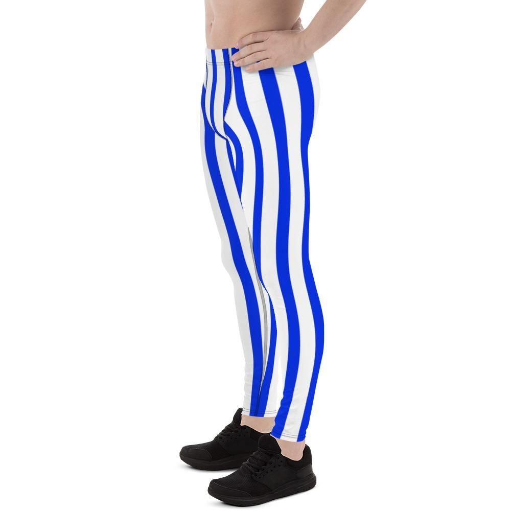 a701bb9dc886f Kawa Blue Stripes Men's Running Leggings & Run Tights Meggings Activew –  heidikimurart