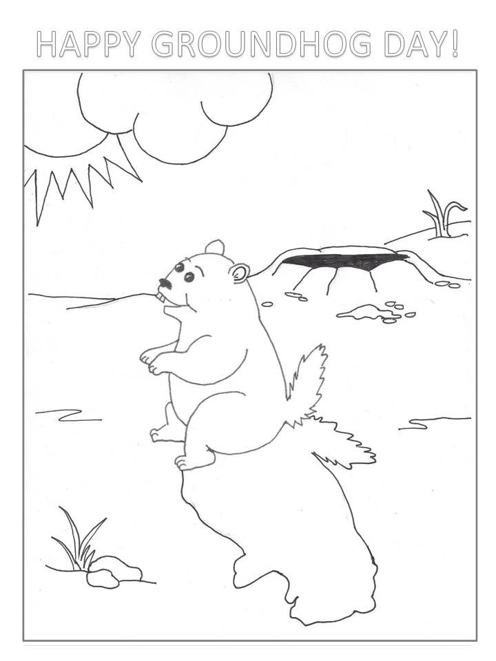 Groundhog Day Coloring Page Groundhog Day Happy Groundhog Day