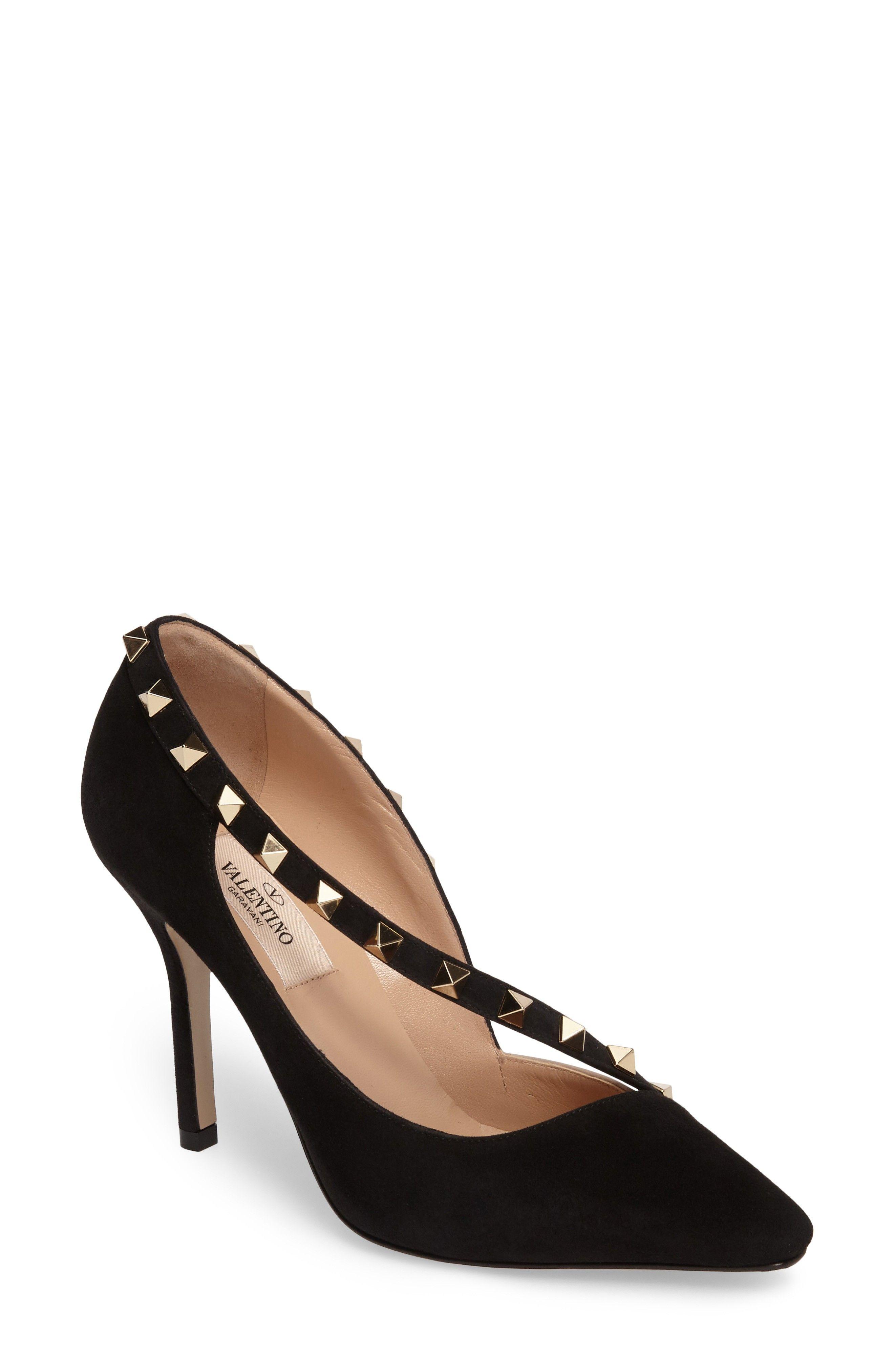 Valentino Designer Shoes, Rockstud d'Orsay Leather Mid Heel Pumps