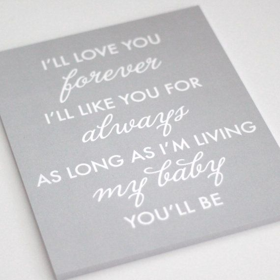 Typography Print I'll love you forever I'll like by kardzkouture