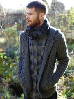 Knit this man's cabled and textured hooded cardigan from Pioneer ...
