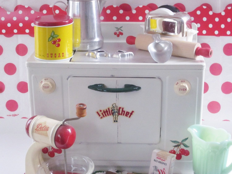 Vintage Toy Kitchen Play Stove Little Chef Cherry Kitchen Miniature ...