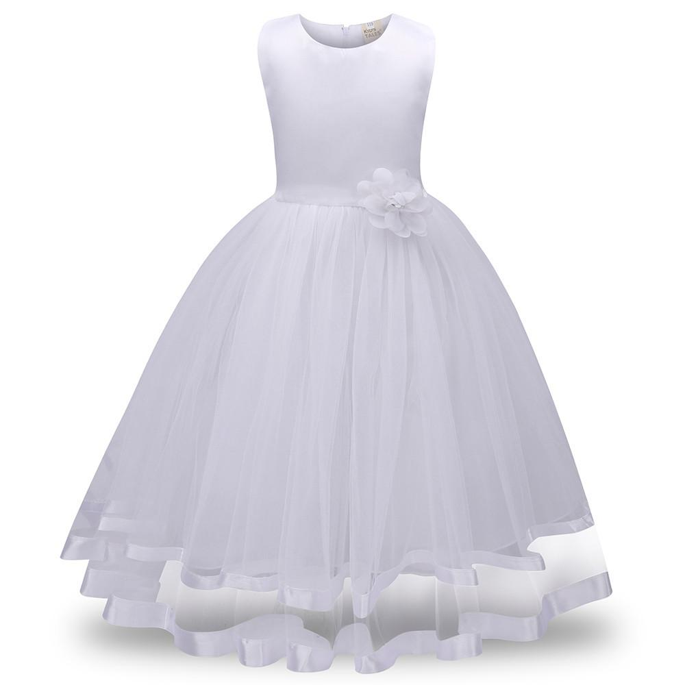The kiki satin trimmed soft tulle ball gown style flower girl