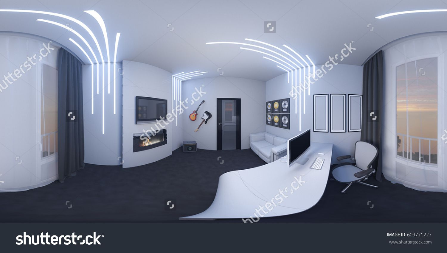 illustration of interior design of a home office in a space style. Render  executed, 360 degree spherical seamless panorama for virtual reality.