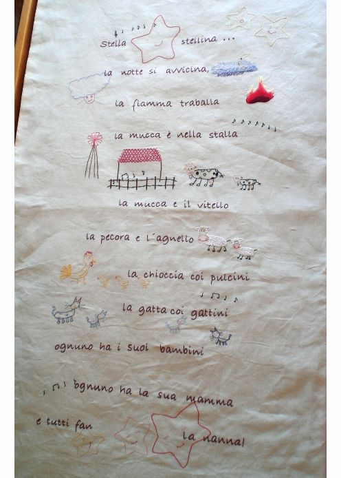 Embroidery with a lullabye I used to sing to my children every night... sweet memories