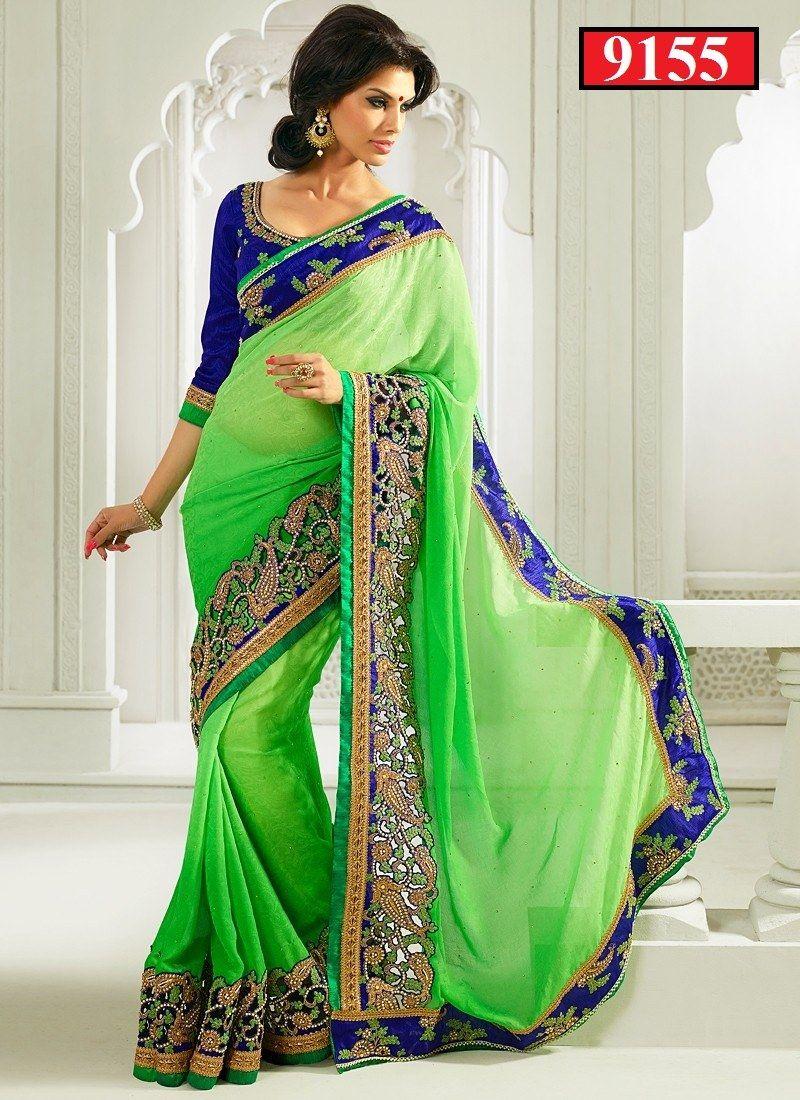 c78307ae0ca707 HEAVY BRIDLE GREEN SHEDDED SAREE-9155-Designer Sarees-Vitrag Fabrics ...