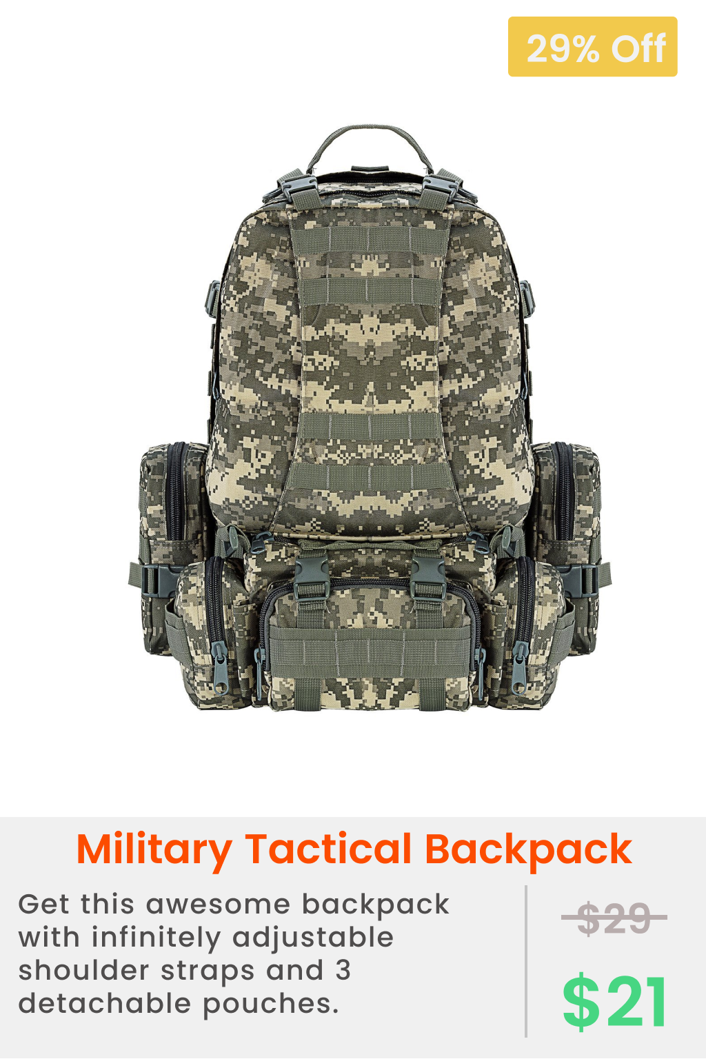 Tactical Backpack Military Army Rucksack Assault Pack Built-up Molle Bag