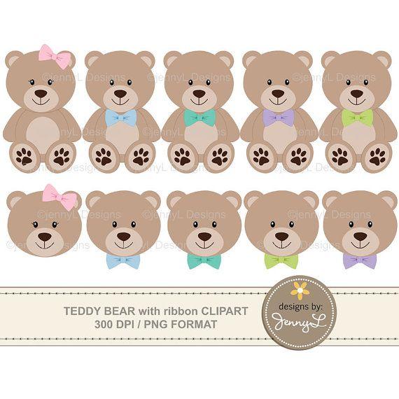 Teddy Bear Clipart With Ribbon Bow Baptism Teddy Bear Baby Etsy Teddy Bear Clipart Bear Clipart Teddy Bear