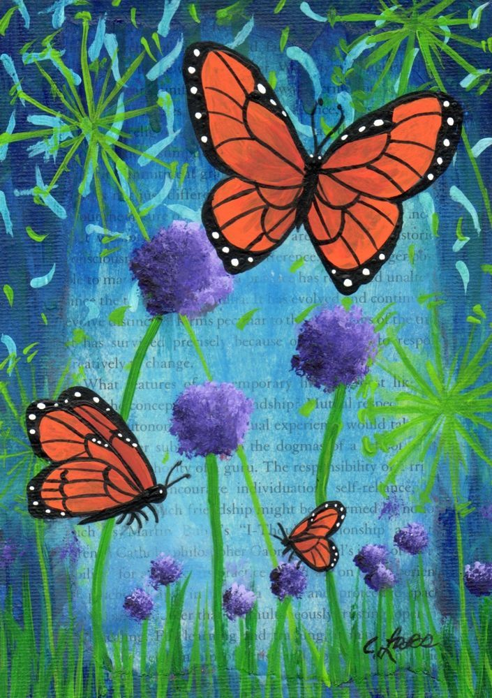 5 X7 Original Acrylic Painting 3 Butterflies Flowers On Flat