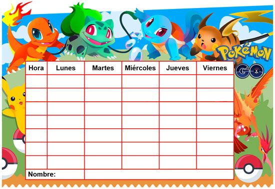 "Horario escolar ""EDITABLE"" de Pokémon Go"