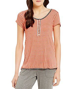 Kensie Geometric Henley Jersey Sleep Top is JERSEY KNIT MATERIAL... at Dillards... nice material for pjs.