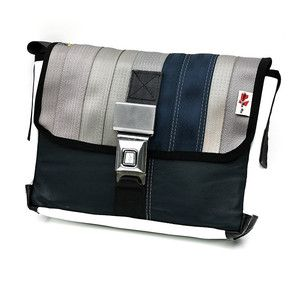 d77aaa92ef34 Messenger bag made from upcycled seat belts and other reclaimed automotive  materials.