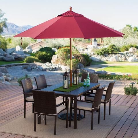commercial grade 9 ft wood market umbrella with burgundy red