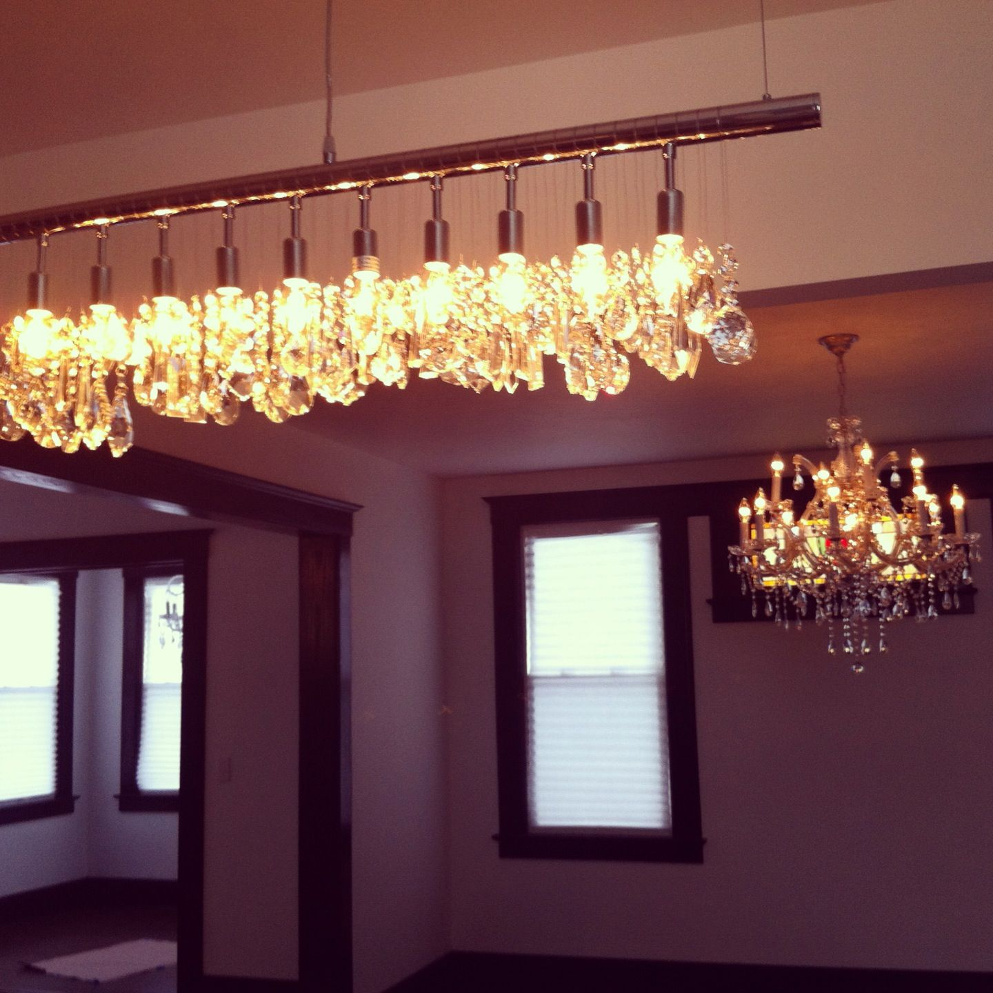 Just installed my linear chandelier on top of my kitchen island
