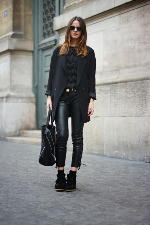 a3e3e097d02 isabel marant sneakers, zina charkoplia, leather pants, blazer, paris,  december