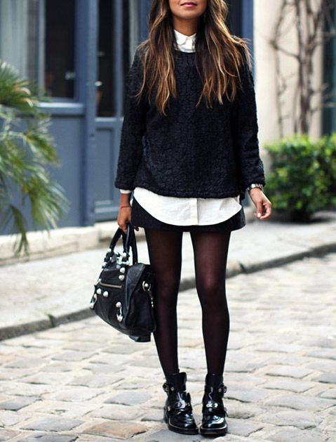 3687fddc1 How to Wear Ankle Boots with Skirts via @PureWow ... luv the boots but I  actually just really like the whole outfit. It's a classic way to wear a  short ...
