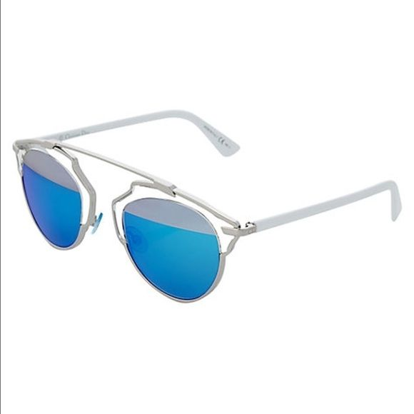 fb8fae61b594c Dior SoReal Sunglasses Silver Blue Mirror NEW Christian Dior Sunglasses.  Silver frame with white temples. Two tone Blue Mirror Lenses.