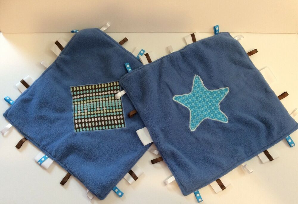 2 Baby Boy Blue Security Blanket Appliqued Lovey Ribbon Tags Handmade Lot #Handmade #securityblankets
