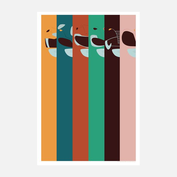 Mighty Morphers Rainbow 12x18 art, digital print, multi
