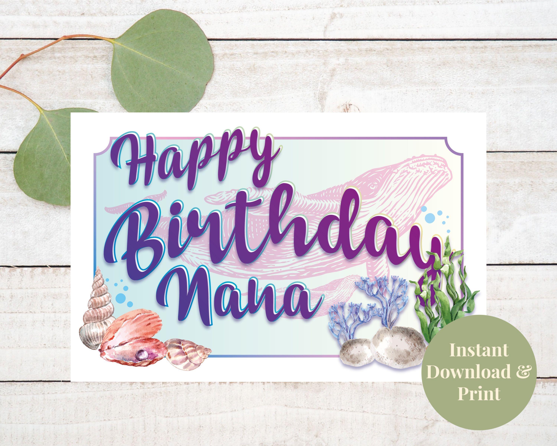 Printable Nana Birthday Card Happy Birthday Nana Nana Card  Etsy
