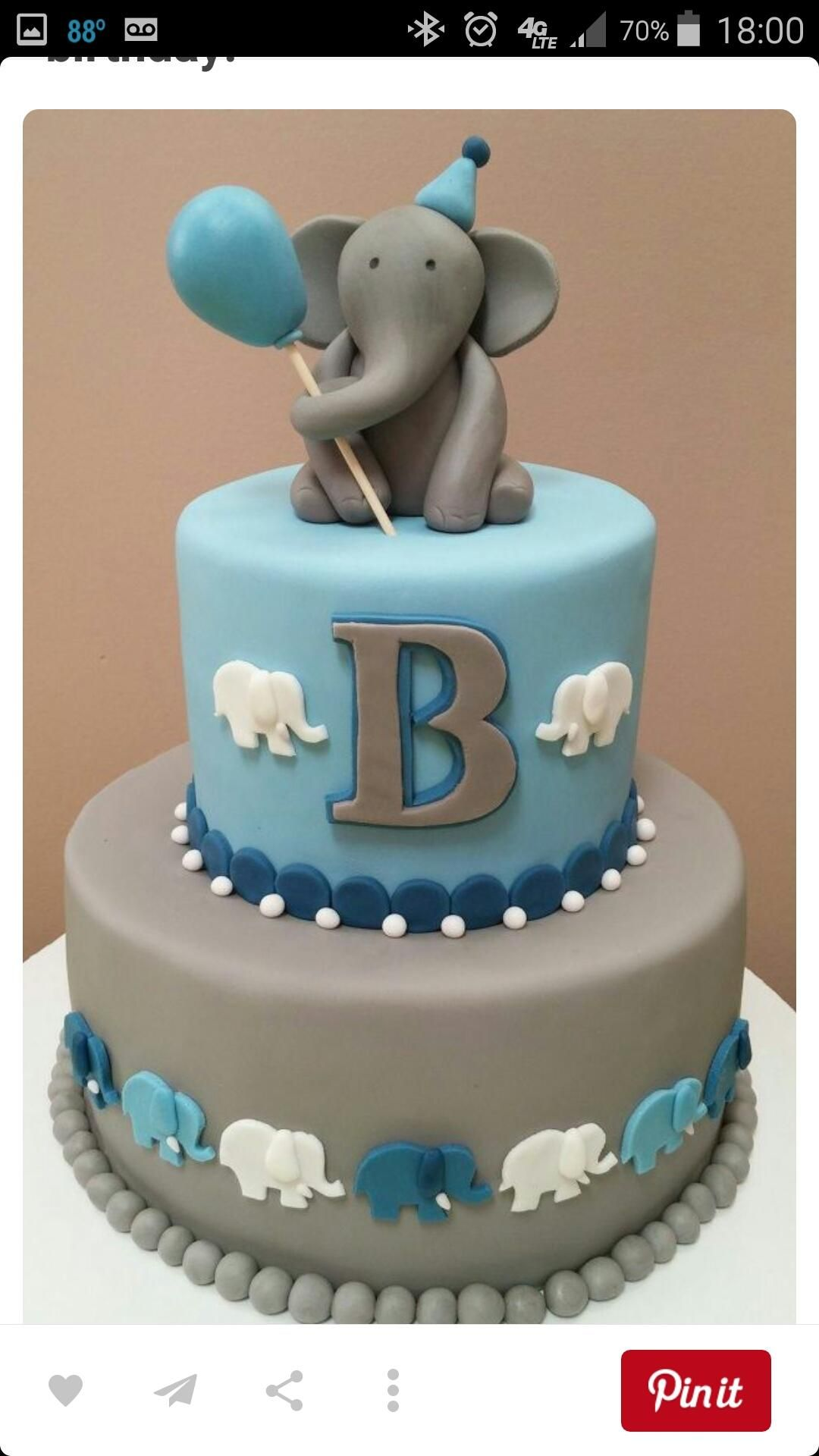 Wonderful Elephant Cake For A Little Guys First Birthday, Or Baby Shower And Could Ve  Even Pink For Girl!
