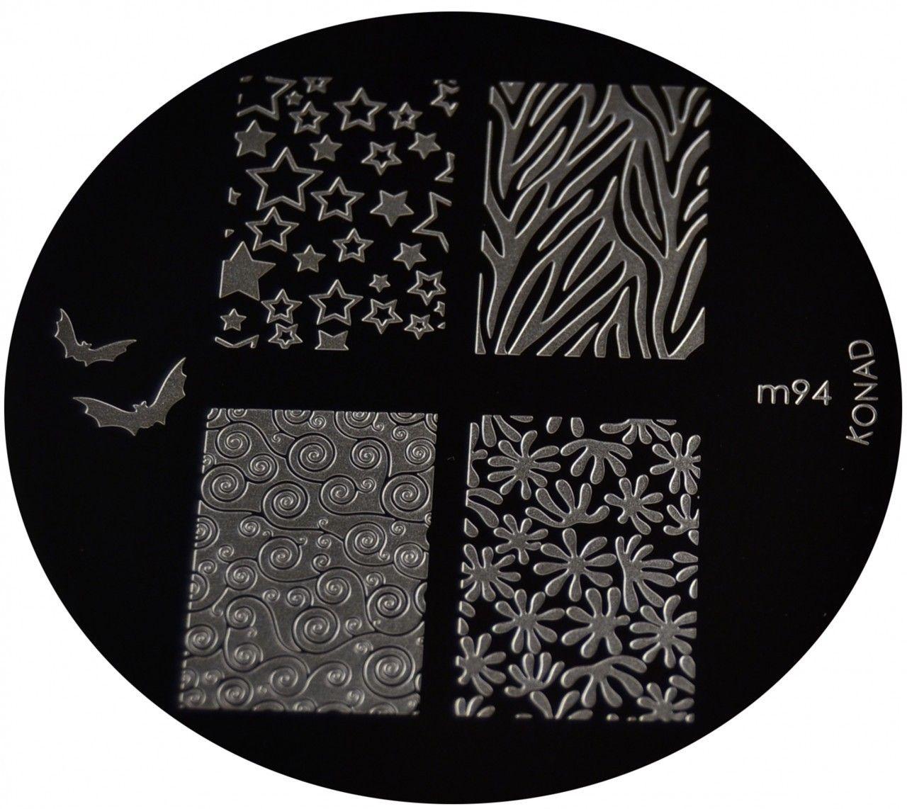 Konad nail art image plate m full nail flowers stars bat