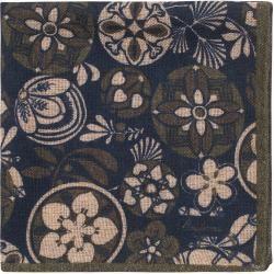 Stenströms Wool/Silk Printed Pocket Square Green StenströmsStenströms