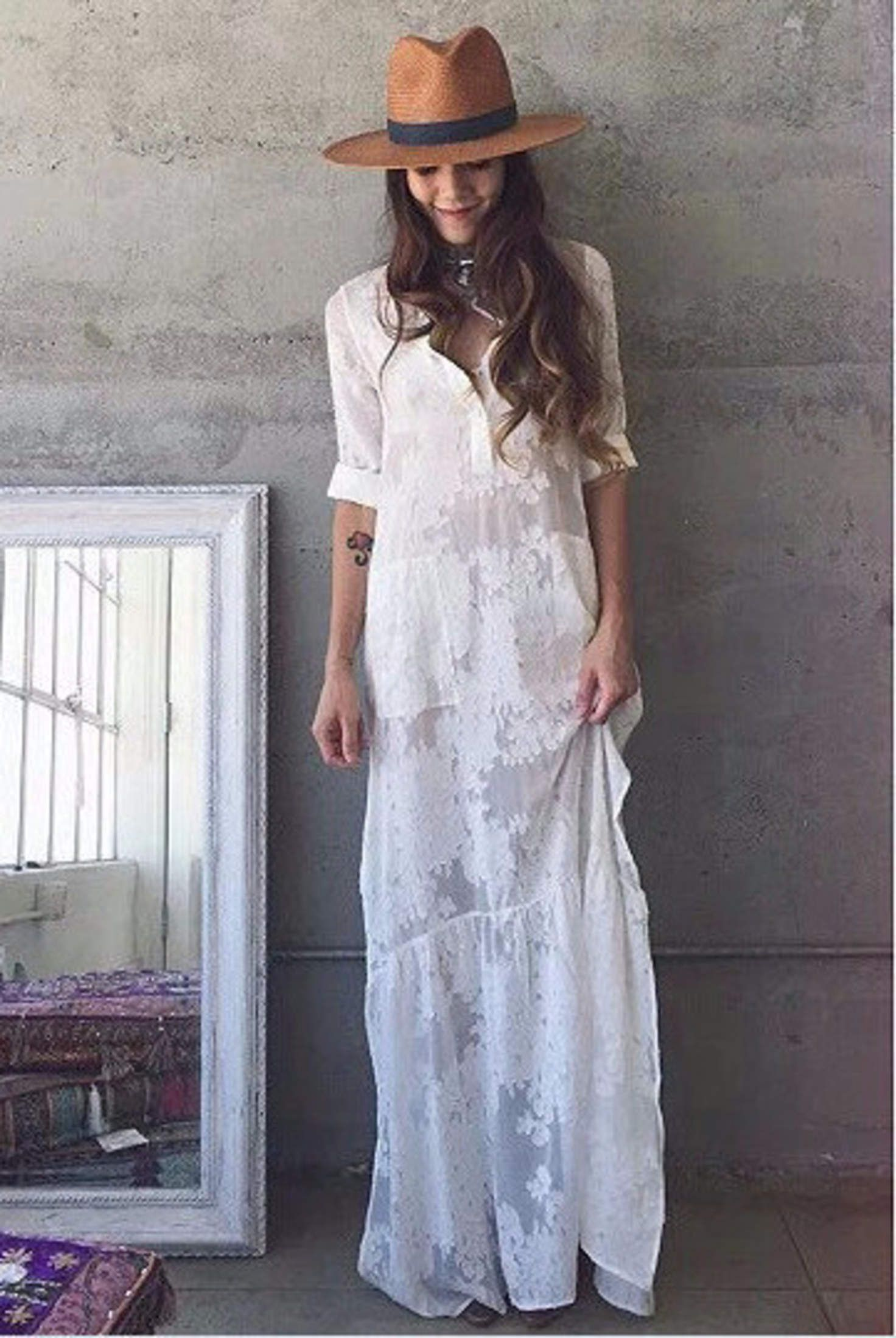 f4bc72959a7d BOHO Slit Side Lace White Chiffon Maxi Dress Lapel Long Sleeve Beach Dress