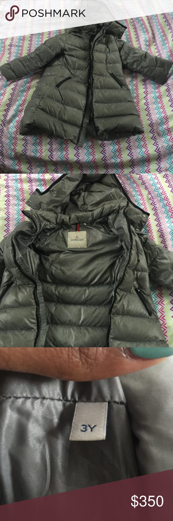 202d432eb Moncler kids winter coat Grey its too small for my daughter so Im selling  it I also have a moncler hat in a xs for kids Moncler Jackets Coats Puffers