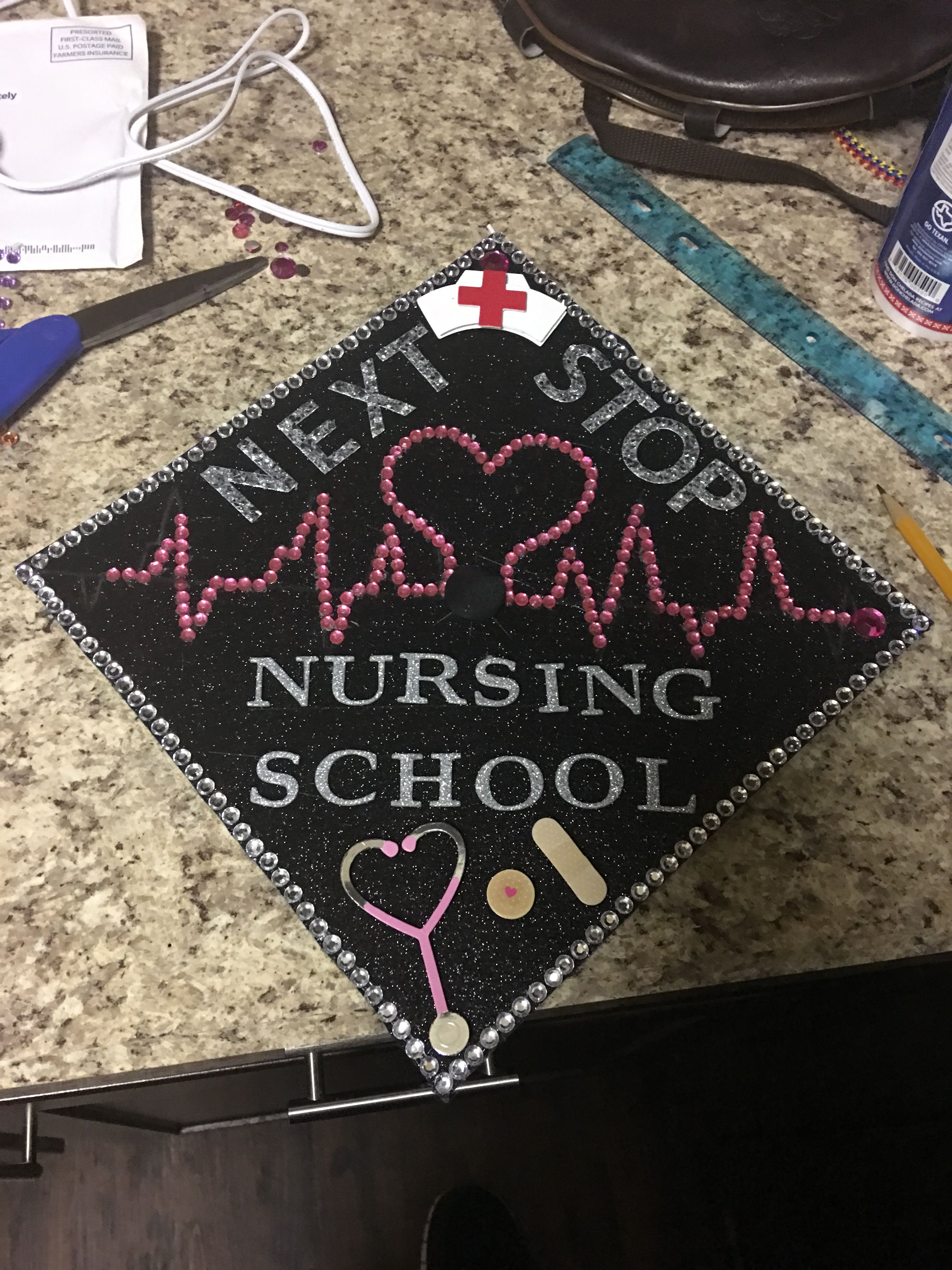 Graduation Cap Next Stop Nursing School High School Graduation Cap Decoration Rn Graduation Cap College Graduation Cap Decoration