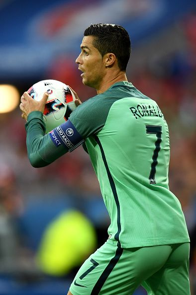 #EURO2016 Cristiano Ronaldo of Portugal in action during the UEFA EURO 2016 semi final match between Portugal and Wales at Stade des Lumieres on July 6 2016 in...