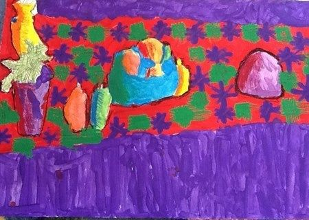 """Isaac5474's art The Meal from exhibit """"Brilliant Matisse Still Lifes"""" My inspiration for creating this artwork was the artist Henri Matisse. My favorite thing about Matisse is that he persevered even though he was in a wheelchair. My artwork is a still life because Henri Matisse painted still life's.My favorite part of my still life is the bowl because it has a nice blue color to it. One thing I learned was Henri Matisse was interested in being a lawyer before he became an artist."""