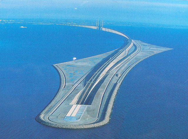 The Öresund or Øresund Bridge is a double-track railway and dual carriageway bridge-tunnel across the Øresund strait between Scania (southernmost Sweden) and Denmark.